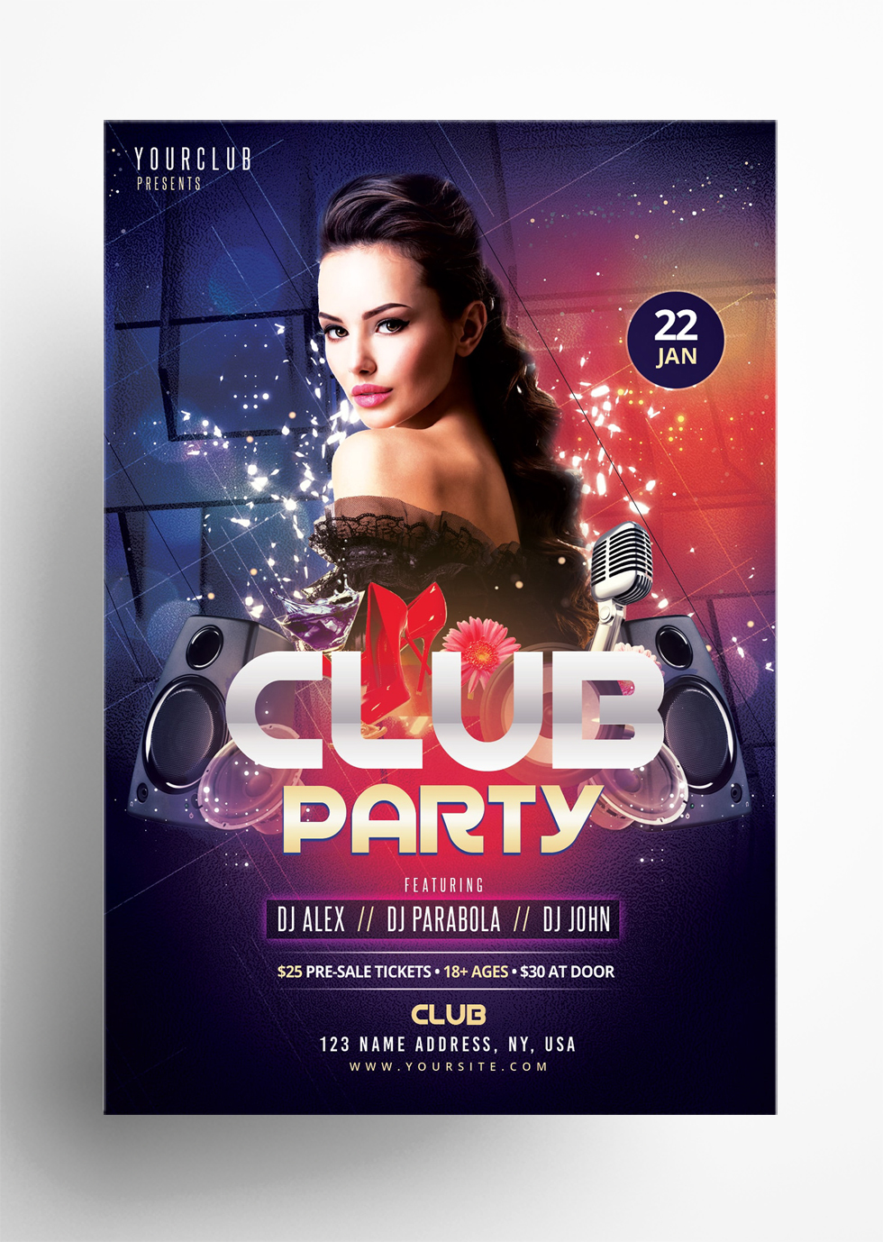 Club Party - Freebie Photoshop Flyer Template
