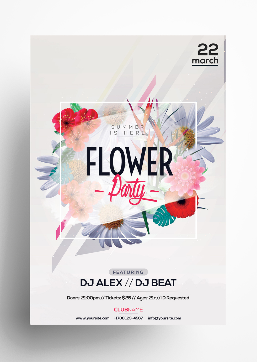 Flower Party - Freebie Summer PSD Flyer Template
