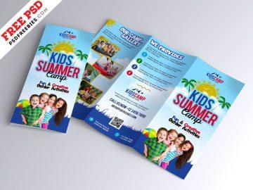 Kids Summer Camp - Free PSD Tri-Fold Brochure