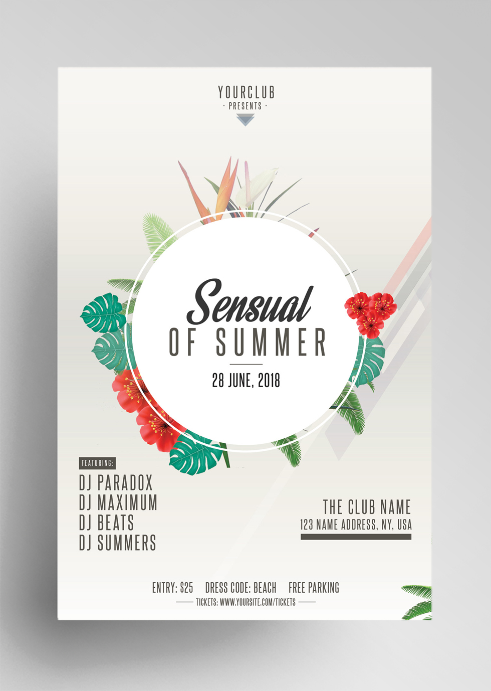 Sensual of Summer – Free Tropical PSD Flyer Template