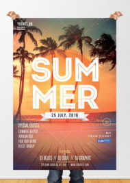Summer Party - Freebie PSD Flyer Template