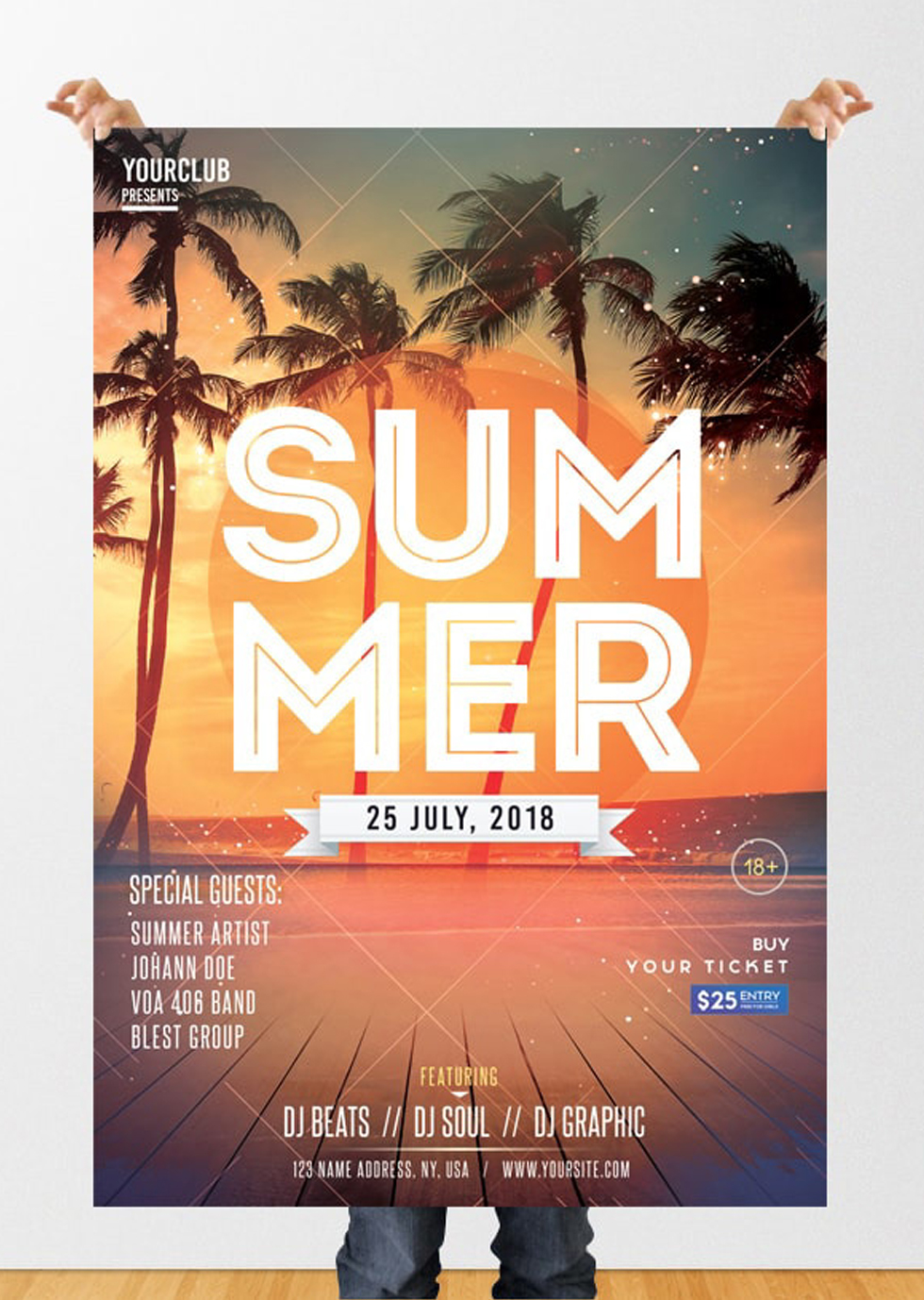 Summer Party – Freebie PSD Flyer Template