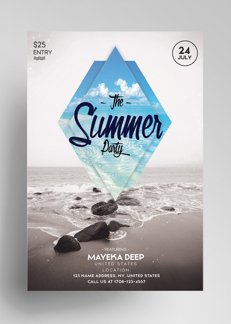 The Summer Party – Free PSD Minimal Flyer Template