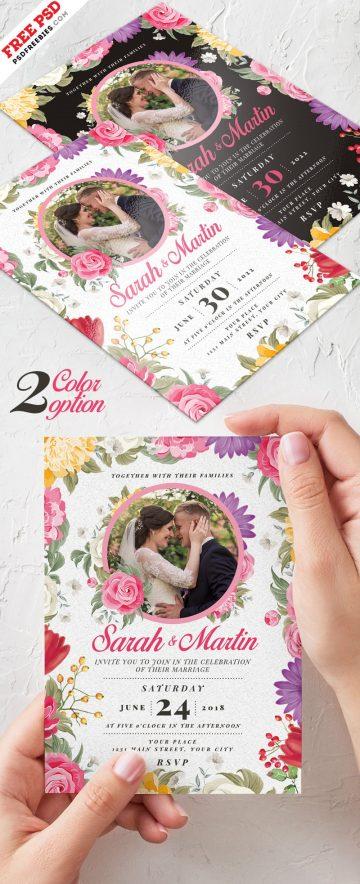Wedding Invitation Card - Free PSD Template