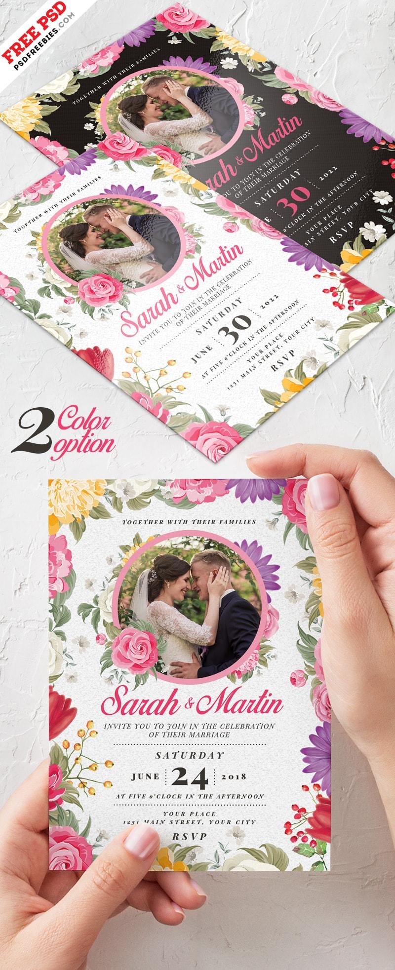 Wedding Invitation Card – Free PSD Template