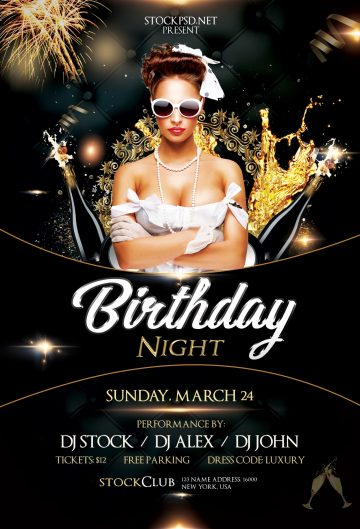 Birthday Gold Night – Free Luxury PSD Flyer Template