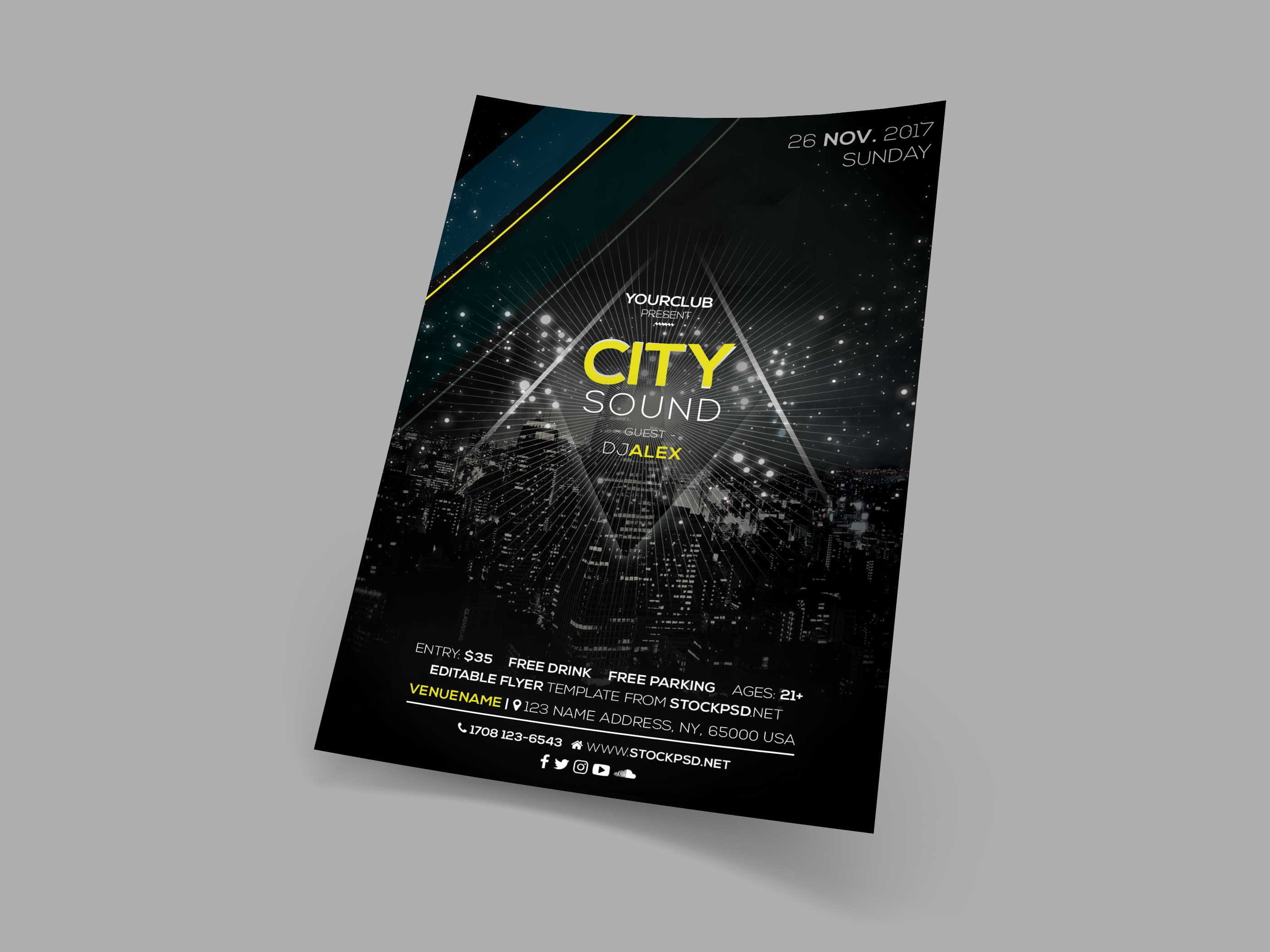 City Sound Free Psd Event Flyer Template Pixelsdesign
