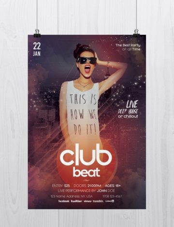 Club Beat Flyer – Download Free PSD Flyers Templates