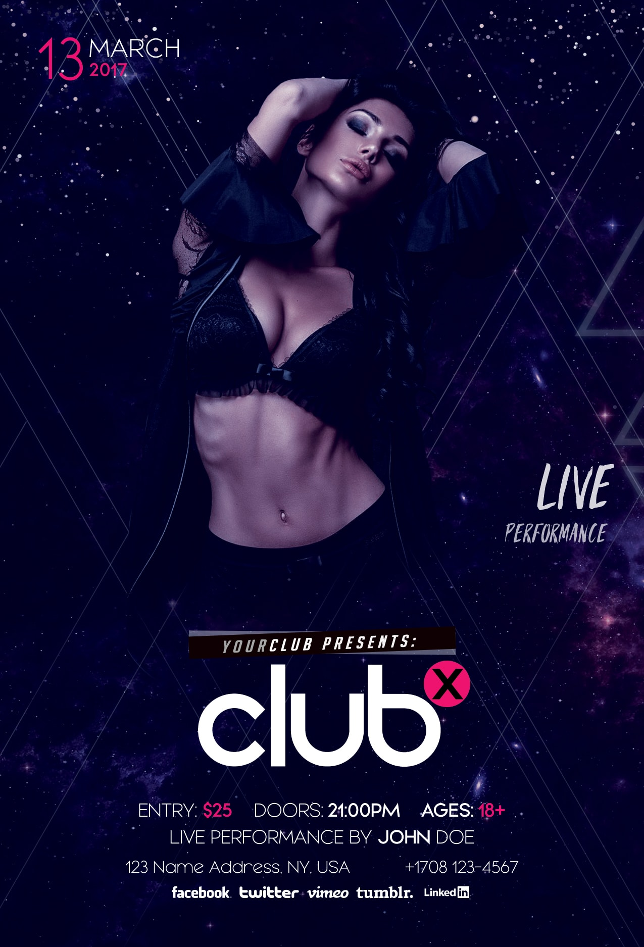 Club X – Download Free PSD Flyer Template