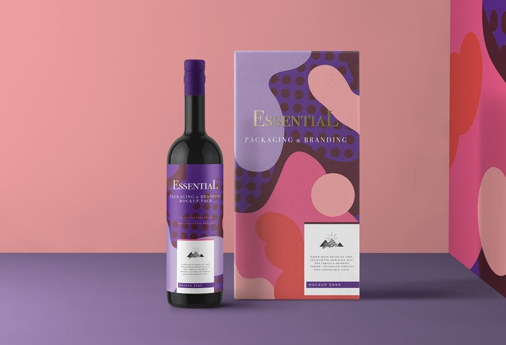 Wine Bottle with Packaging Box Mockup – Download Freebie PSD Mockups