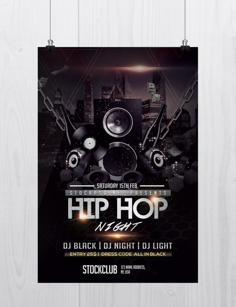 Pixelsdesign Hip Hop Music Download Free Psd Flyer Template