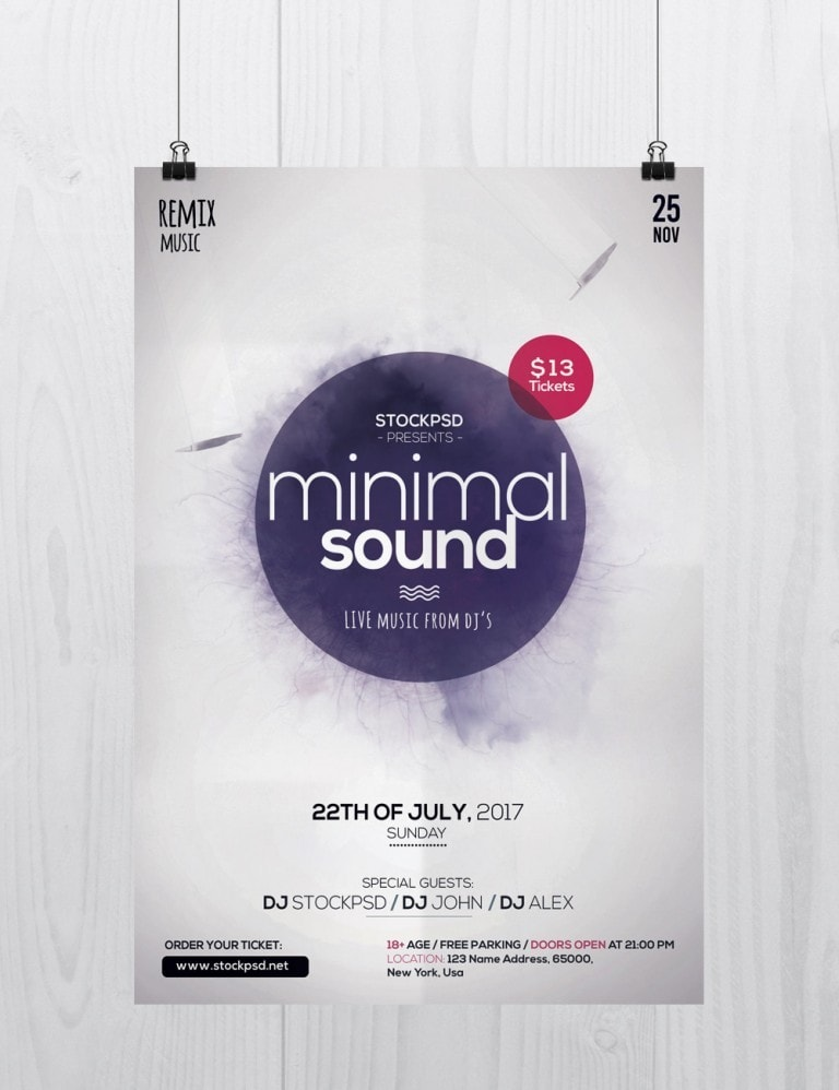 Minimal Sound – Download PSD Free Flyer Template
