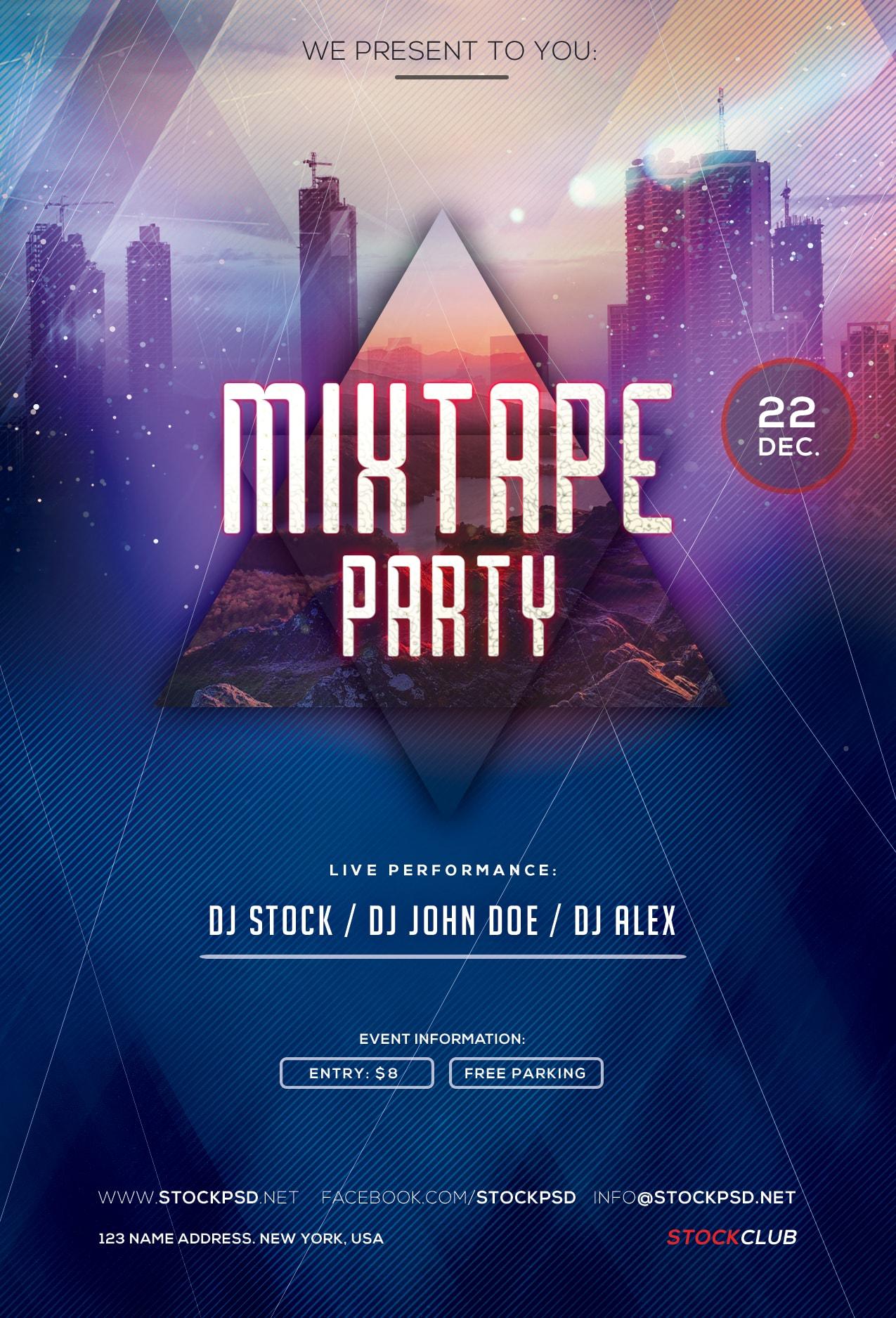 Mixtape Party – Freebie PSD Flyer Template