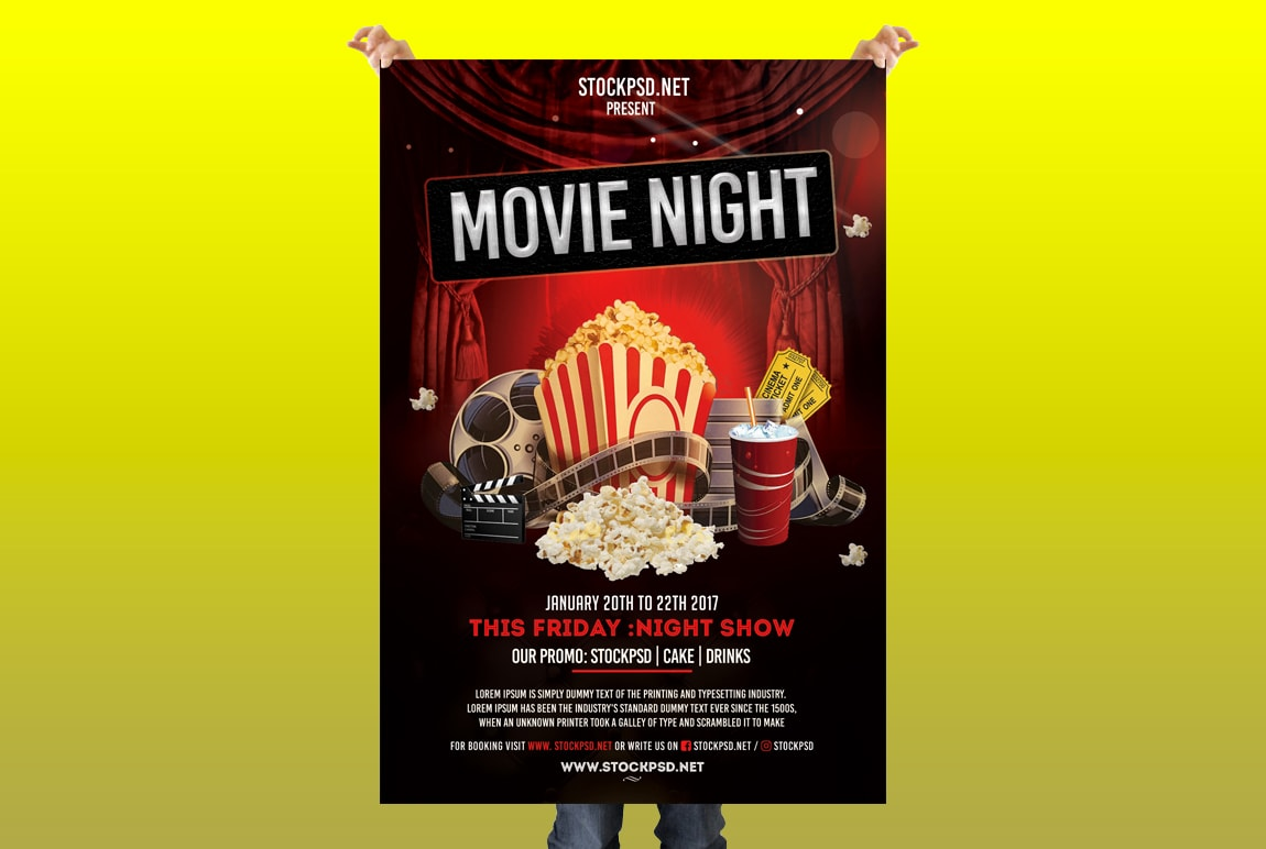 Movie Night Free Psd Flyer Template Pixelsdesign