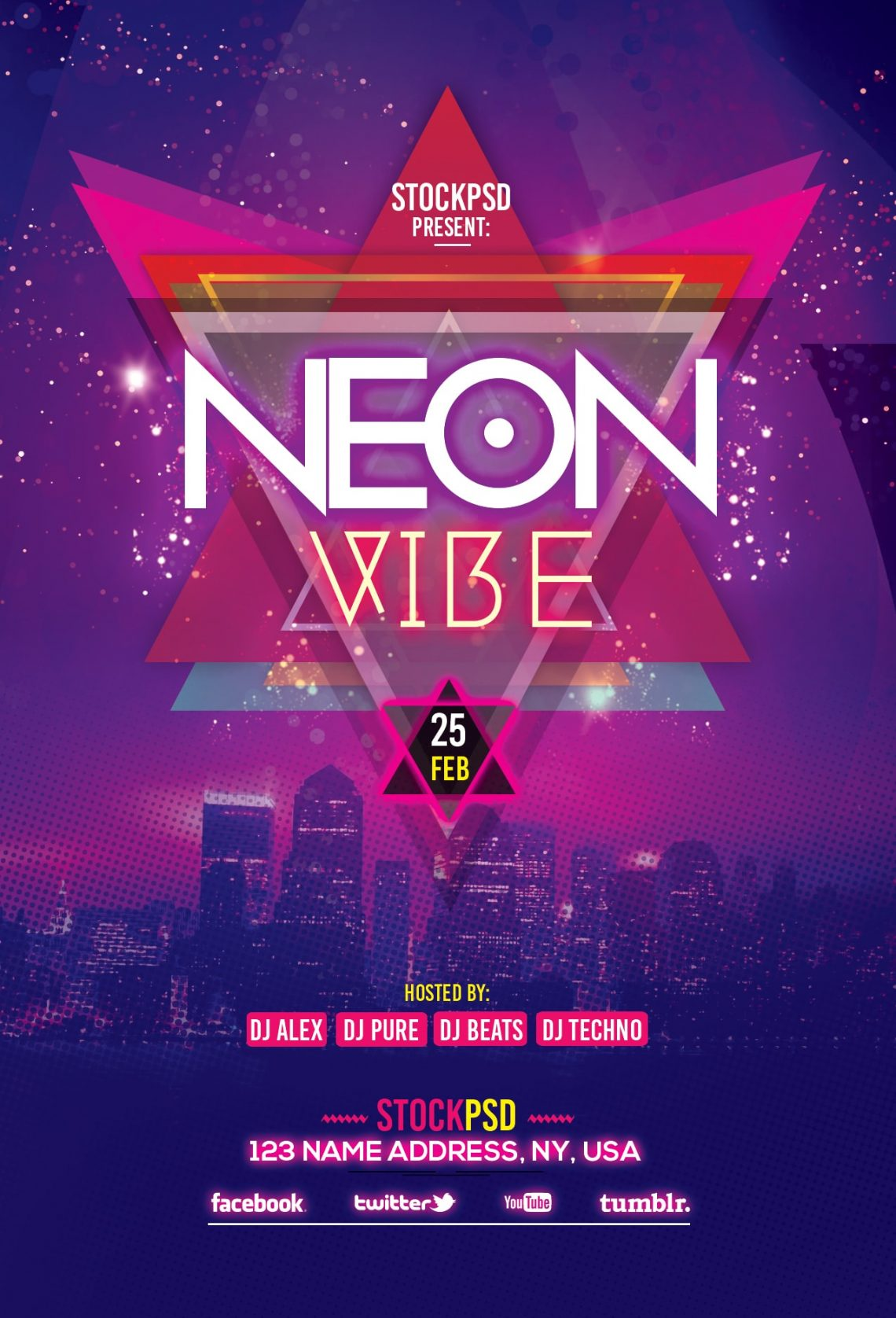 Neon Vibe – Download Free PSD Flyer Template - Pixelsdesign net