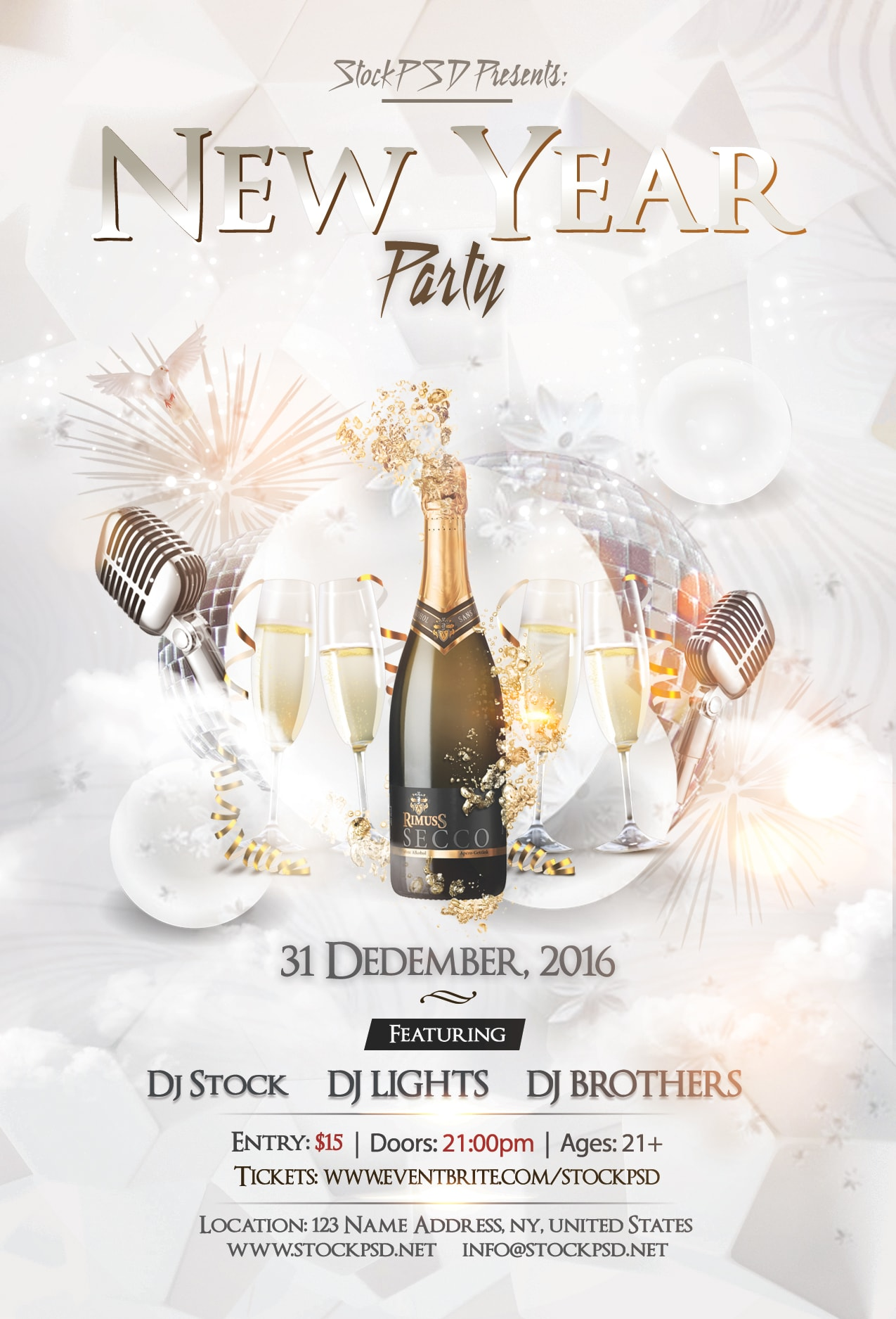 New Year Eve Party – PSD Free NYE Flyer Template - Pixelsdesign.net
