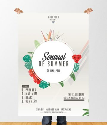 Sensual of Summer - Free Tropical PSD Flyer Template