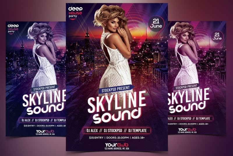 Skyline Sound – PSD Free Flyer Template