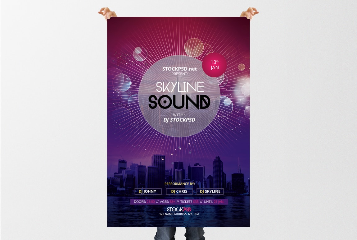 Skyline Sound – Download Free PSD Flyer Template