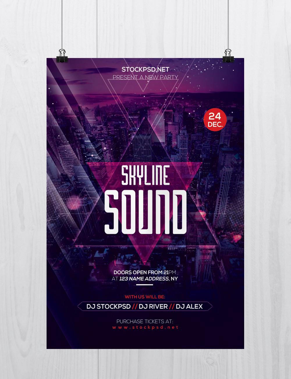 Skyline Sound – Download PSD Free Flyer Templates