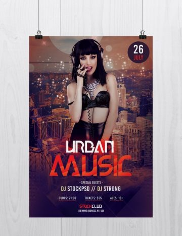 Urban Music – Free PSD Photoshop Flyer Template