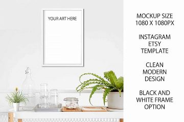 Framed Poster on white Wall A4 - Free PSD Mockup