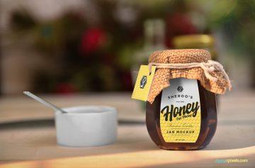 Awesome Honey Jar - Free PSD Mockup