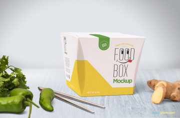 Realistic Lunch Box (Package)- Free PSD Mockup