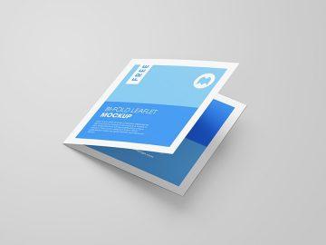 Bi-Fold Square Leaflet - Freebie PSD Mockup