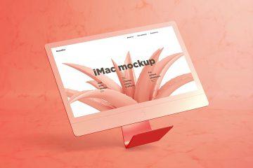 iMac Mockup with Marble - Free PSD Mockup