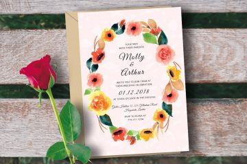 Wedding Invitation with Watercolor Floral - Free PSD Template