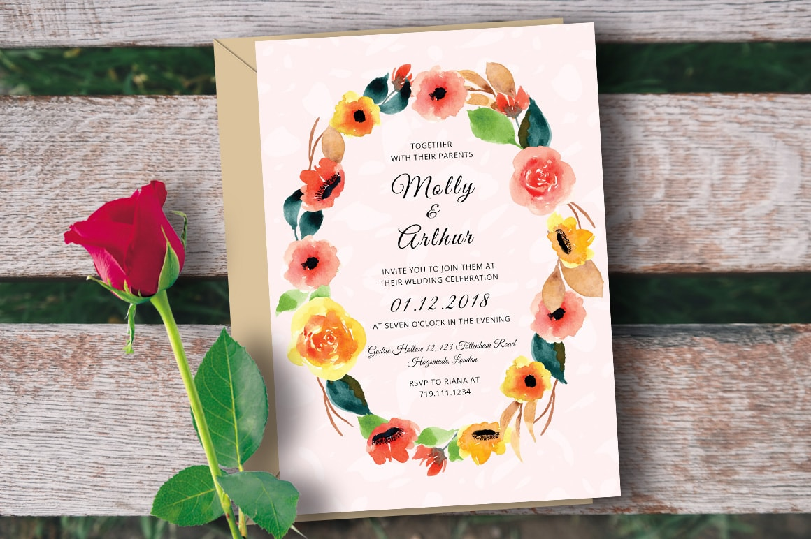 Wedding Invitation with Watercolor Floral – Free PSD Template
