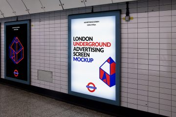 London Underground Advertising Screen - FREE PSD Mockup