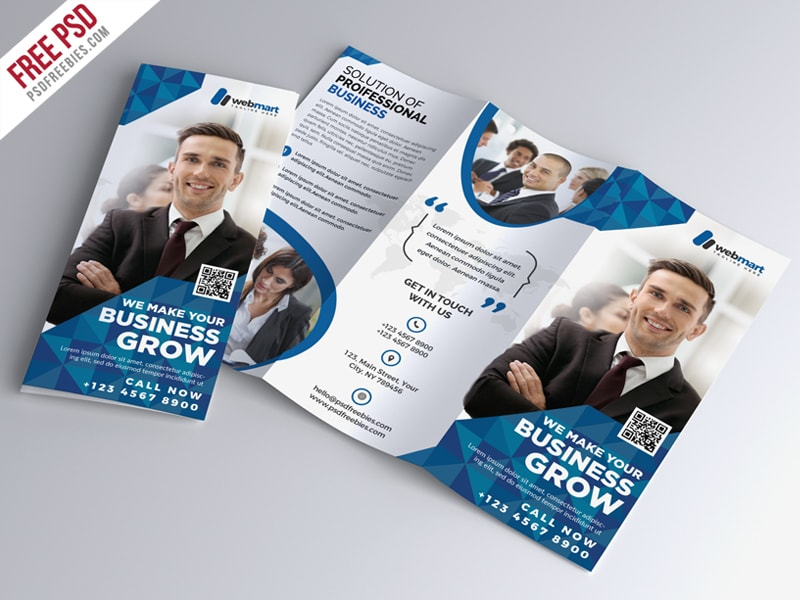Corporate Tri-fold Brochure – PSD Template Free Download