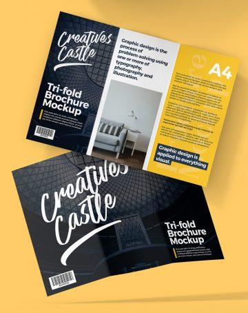 A4 Tri-Fold Brochure Mockup - Free PSD Mockups
