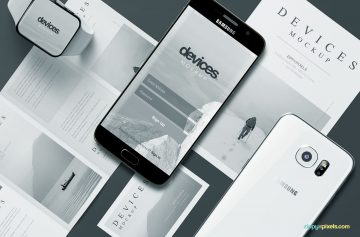 Flyer, Samsung Phone Business Card - Free PSD Mockups