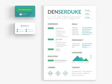 Resume with Business Card - Free PSD Templates