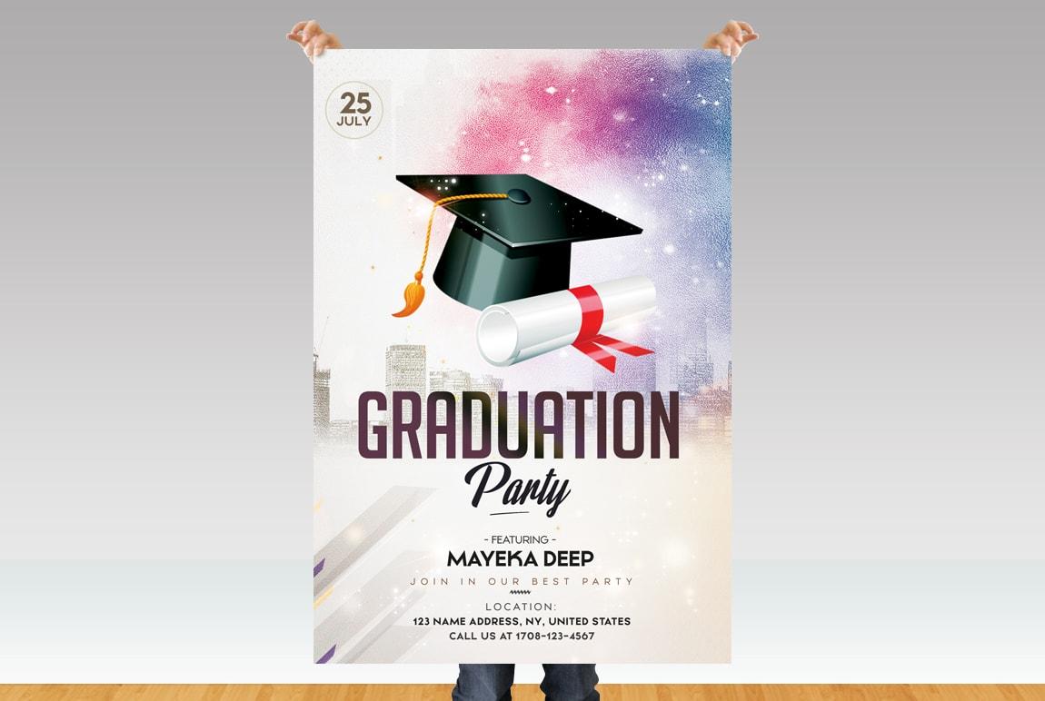 Graduation Party Free Psd Flyer Template Pixelsdesign