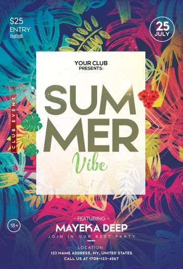 Tropical Summer - Free PSD Flyer Template