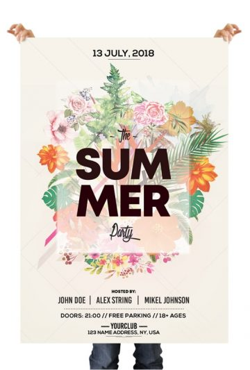 Summer Floral - Free PSD Flyer Template