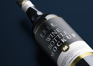 Realistic Wine Bottle - Free PSD Mockup