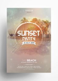Sunset Party – DJ Free PSD Flyer Template