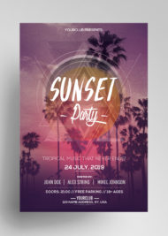 Sunset Party - Download Free PSD Flyer Templates