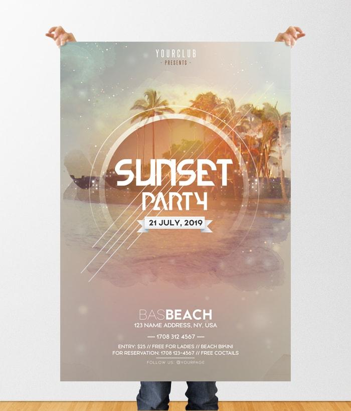Sunset Party Dj Free Psd Flyer Template Pixelsdesign