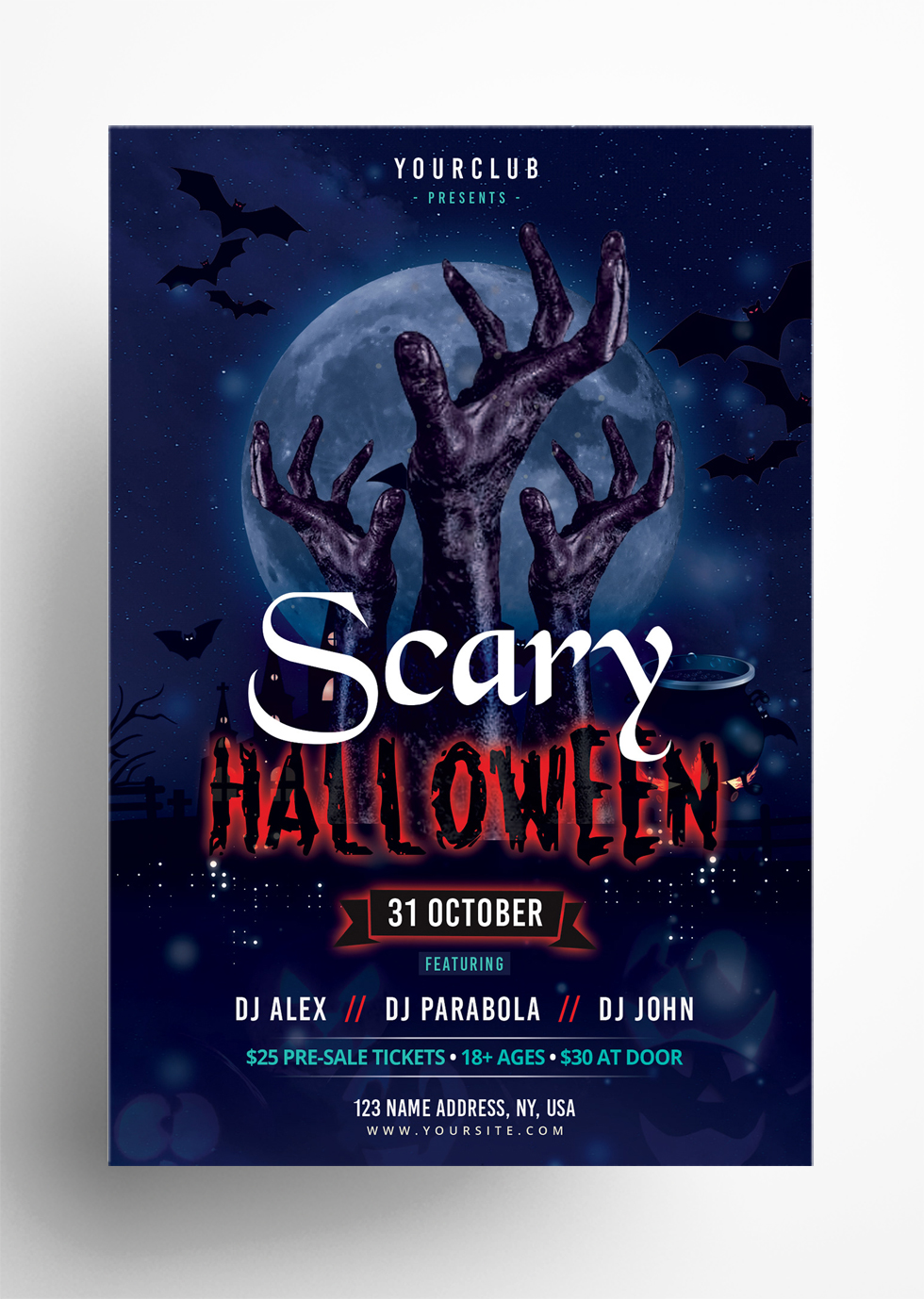 Scary Halloween – Free PSD Photoshop Flyer Template