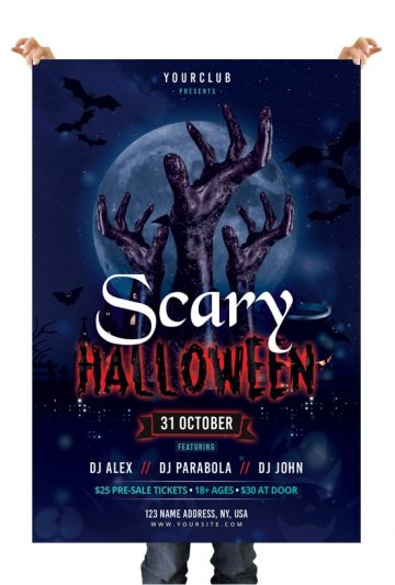 Scary Halloween - Free PSD Photoshop Flyer Template