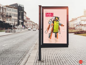 Billboard Advertising Banner in Road - Free PSD Mockup