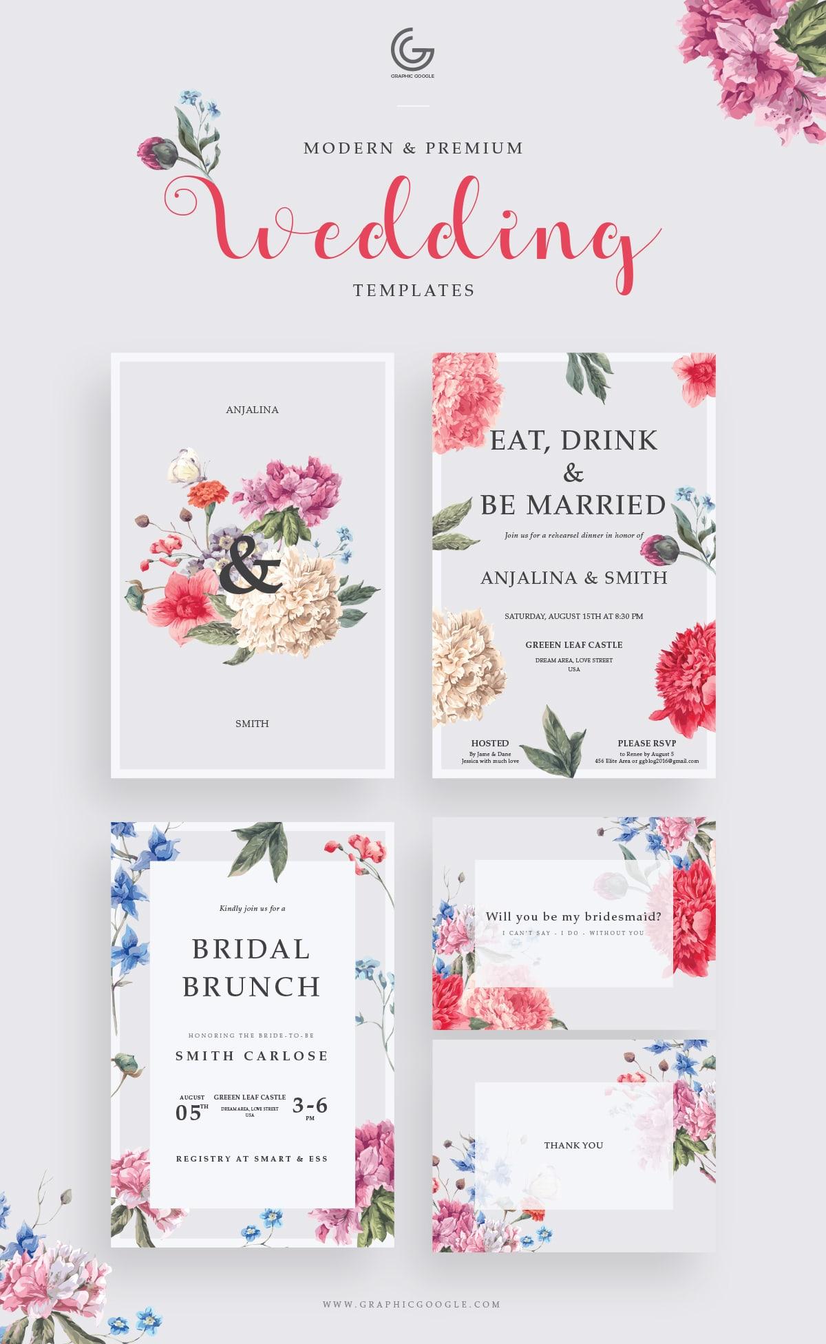 Freebie Modern Wedding Invitation – Free Templates