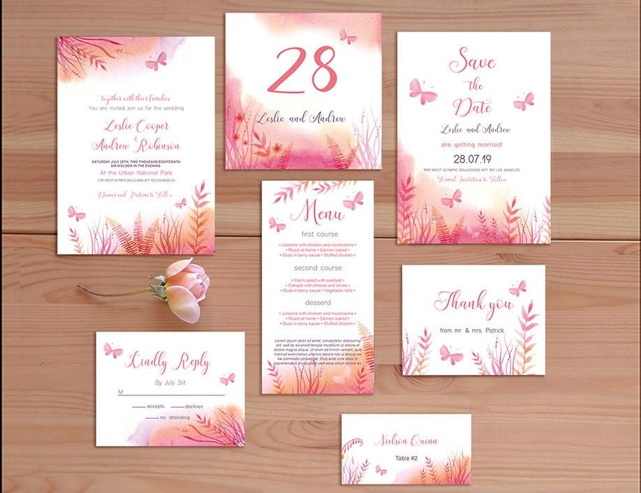 Pink Wedding Invitation Bundle – Download Free Templates