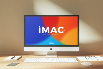 Workplace iMac - Free PSD Mockup
